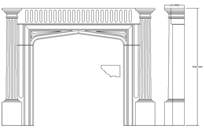 cad drawing fireplace